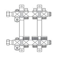 """Гребёнка для напольного отопления Multidis SF 1"""" для 2-х контуров"""