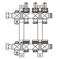 """Гребёнка для напольного отопления Multidis SF 1"""" со встроенными ротаметрами для 2-х контуров"""