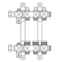 """Гребёнка для напольного отопления Multidis SF 1"""" с преднастраиваемым байпасом для 2-х контуров"""